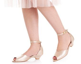 Smith Low Heeled Champagne Vegan Bridal Sandal, Vintage Inspired Chic Summer Wedding Shoe