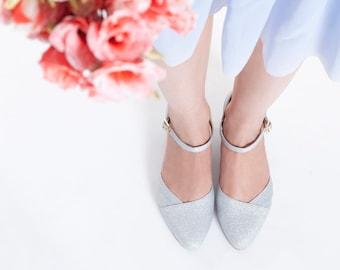 Blanche Bridal Summer Shoe, The Romantic Sparkling Silver Low Heeled Vintage Inspired Wedding Kitten Heel