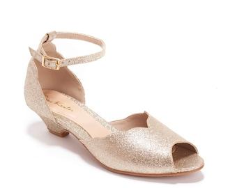 Smith Low Heeled Gold Vegan Bridal Sandal, Vintage Inspired Chic Summer Wedding Shoe