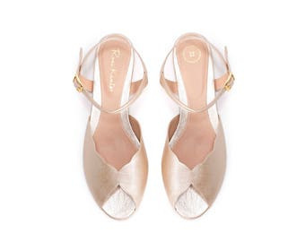 The Ahuva Champagne Vegan Bridal Flat Sandal, Vintage Inspired Summer Wedding Shoe