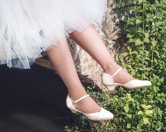 Blanche Bridal Summer Shoe, The Romantic Cream Low Heeled Vintage Inspired Wedding Kitten Heel