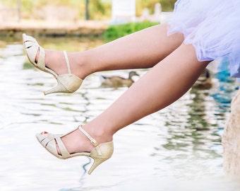 The Donna Vegan Bridal High Heeled Sandal, Sparkling Gold Vintage Inspired Summer Heels