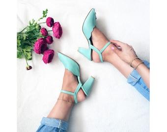 Adina Vegan  Bridal Shoes, Light Blue High Heel Wedding Sandal with a Vintage Flair