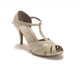 1950s Style Shoes | Heels, Flats, Boots The Donna Vegan Bridal High Heeled Sandal Sparkling Gold Vintage Inspired Summer Heels $130.00 AT vintagedancer.com