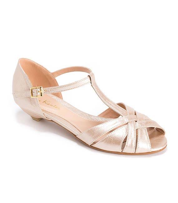 release info on shop outlet store Shila Vegan Champagne Bridal Vintage Inspired Kitten Heel, Comfortable Low  Heel Wedding Shoe