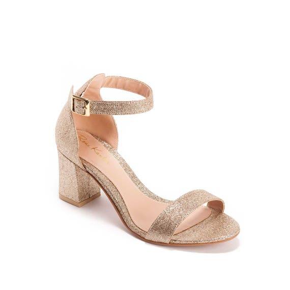 Gold Block Heel Shoes