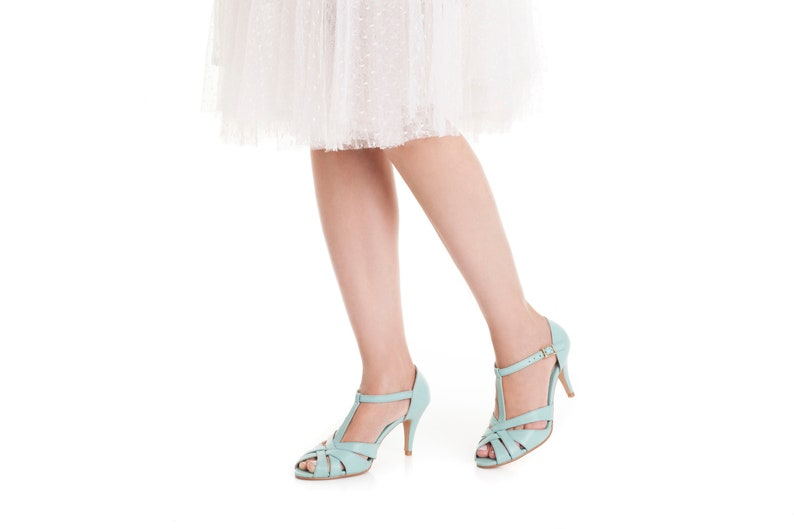 The Donna Vegan Bridal High Heeled Sandal Light Blue Vintage image 0