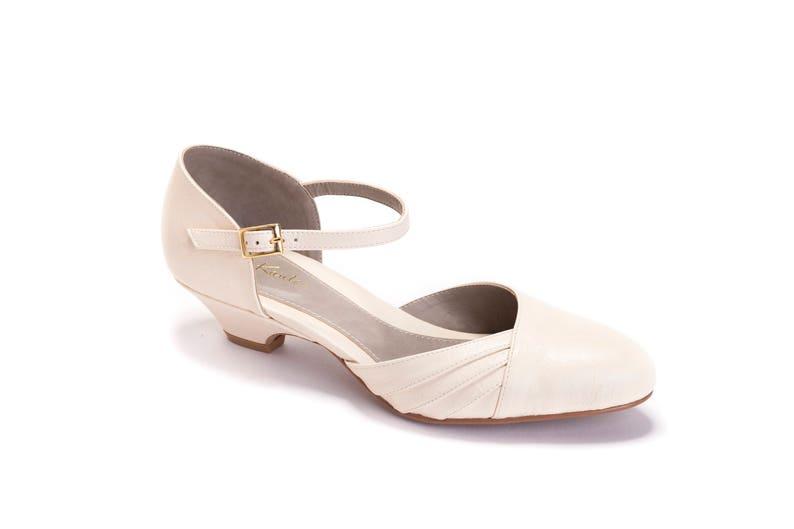 1940s Style Wedding Dresses | Classic Wedding Dresses Blanche Bridal Summer Shoe The Romantic Cream Low Heeled Vintage Inspired Wedding Kitten Heel $125.00 AT vintagedancer.com