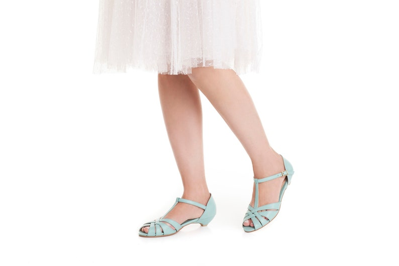 1940s Women's Footwear Shila Vegan Light Blue Bridal Vintage Inspired Kitten Heel Comfortable Low Heel Wedding Shoe $125.00 AT vintagedancer.com