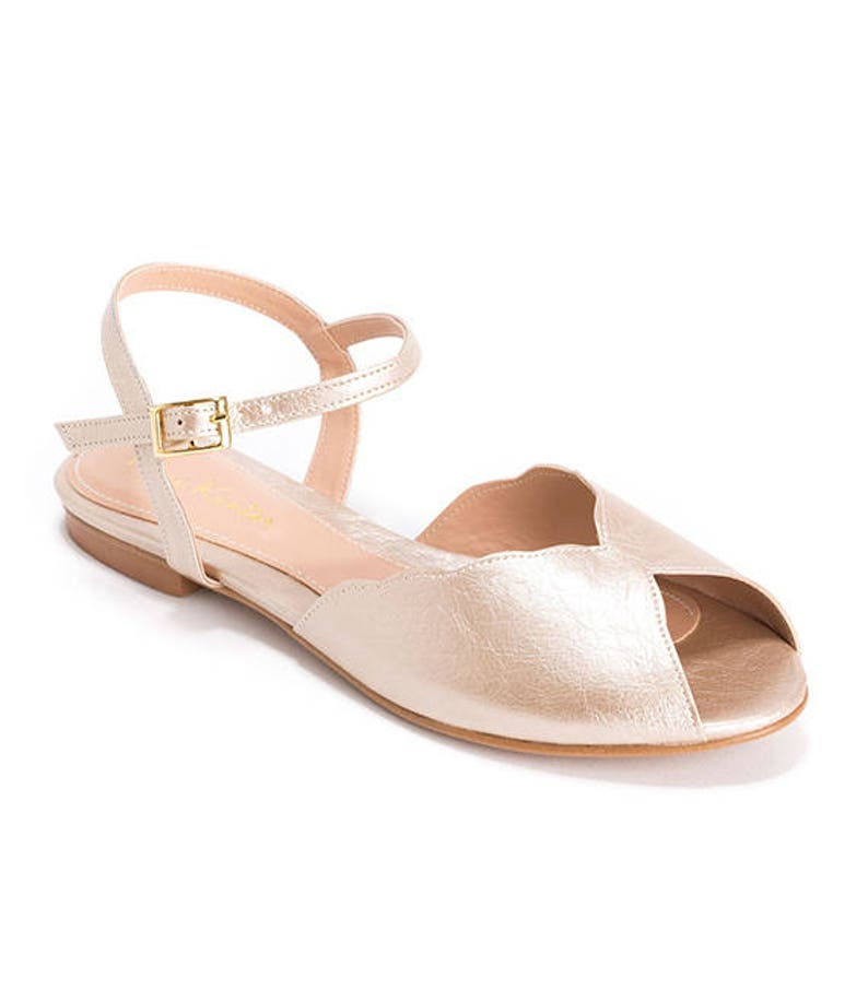 a70edc6856ab4 The Ahuva Champagne Vegan Bridal Flat Sandal, Vintage Inspired Summer  Wedding Shoe