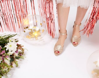 The Bat Mary-Jane Bridal Peep-Toe Kitten Heels, Comfortable Low Heel Wedding Shoe