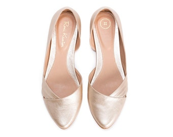 Louize Bridal Flat in Champagne, Cruelty Free Vegan Summer Shoes