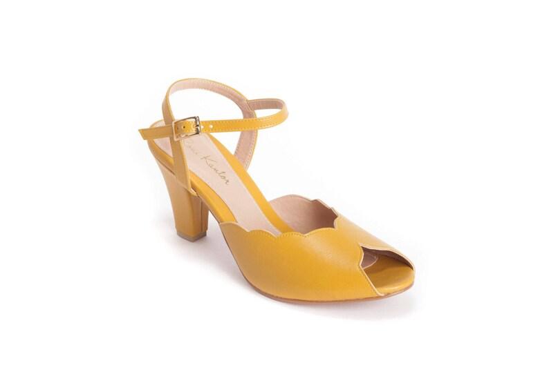 471e805aa5877 Adina Vegan Bridal Shoes, Yellow High Heel Wedding Sandal with a Vintage  Flair