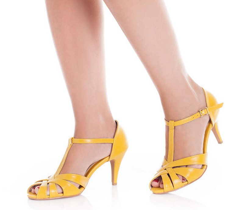 The Donna Vegan Bridal High Heeled Sandal Yellow Vintage image 0
