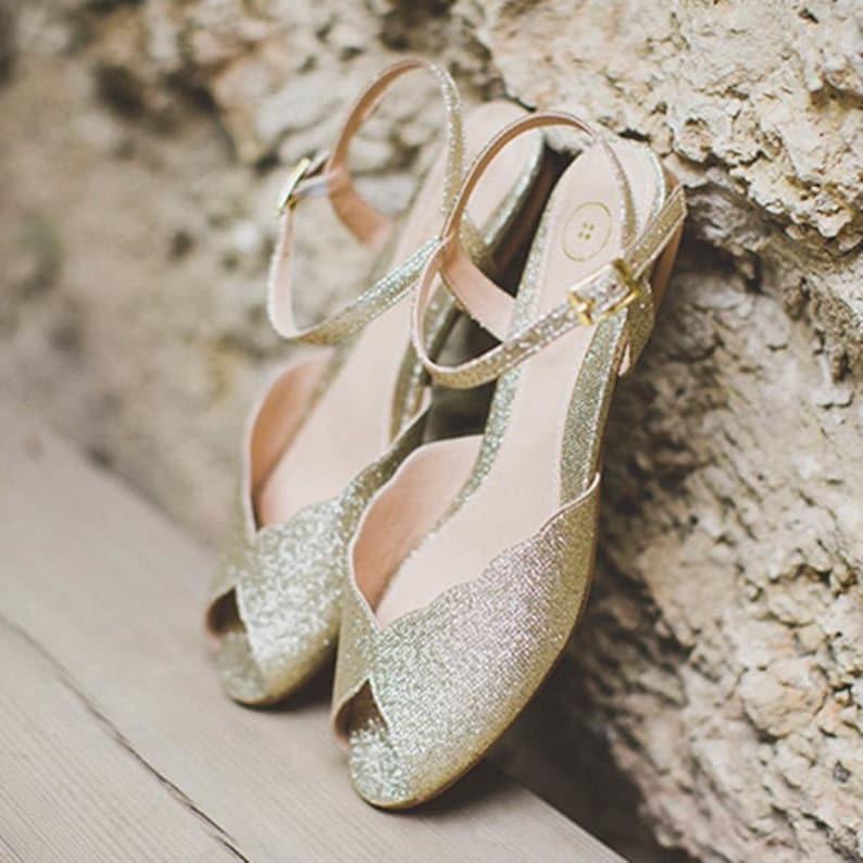 1309ef0a19a The Ahuva Sparkly Gold Vegan Bridal Flat Sandal Vintage