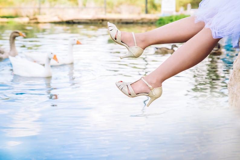 The Donna Vegan Bridal High Heeled Sandal Sparkling Gold image 0