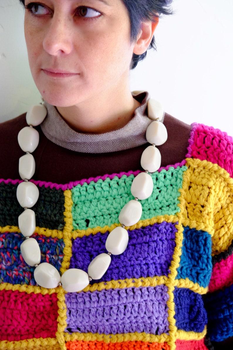 Bolero tricot,maglione lavorato ad uncinetto tecnica patchwork lana colorata fantasia scozzese gilet in maglia
