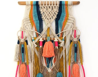 KULA wall hanging unique boho macrame with tassels and knots on natural jute and cotton FREE SHIPPING