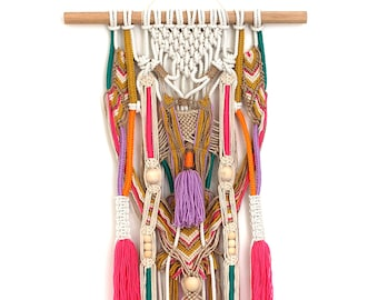 SAXSA wall hanging unique boho macrame with tassels and knots on natural jute and cotton FREE SHIPPING Australia