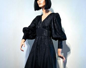 Vtg 60s Biba style Gothic vamp maxi dress // huge Leg of Mutton slvs and long cuffs // jet black chintz // British fashion house