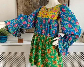 Vintage 1960's Cotton Smock Mini Dress Balloon Sleeves / Young Victorian I Magnin / Folk Peasant Hippie Boho Romantic Cottagecore / 60s 70s