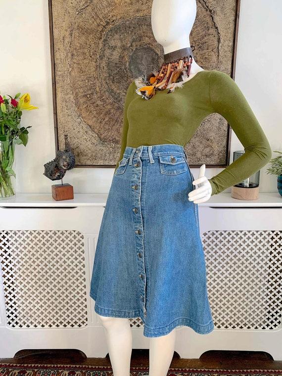 Vintage LEE Demin Button Front Midi Skirt / Weste… - image 1