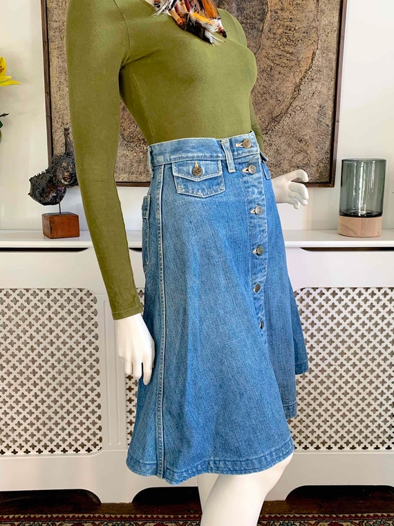 Vintage LEE Demin Button Front Midi Skirt / Weste… - image 3