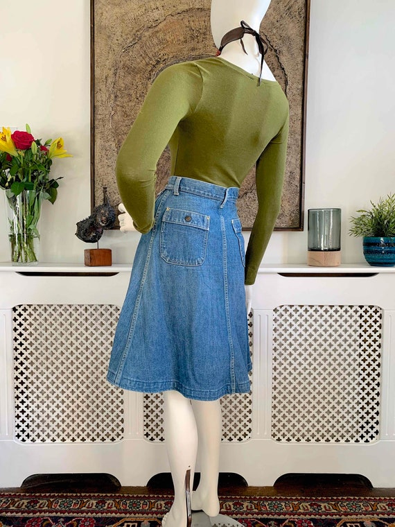 Vintage LEE Demin Button Front Midi Skirt / Weste… - image 8