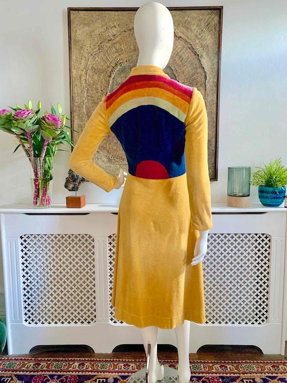 RARE 1970s Pop Art Velour Patchwork Coat by Yolant