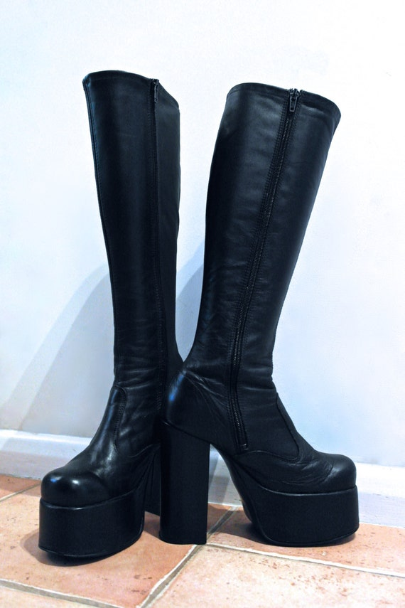 BOOTS Skin Tight Black Leather Knee