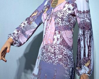 Vtg 60s 70s ART NOUVEAU print maxi dress // Empire line fit // extra long length // slim balloon sleeves