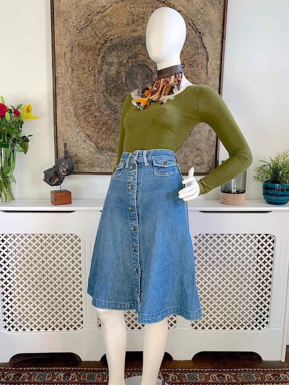 Vintage LEE Demin Button Front Midi Skirt / Weste… - image 9