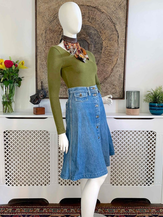 Vintage LEE Demin Button Front Midi Skirt / Weste… - image 2