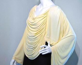 Vintage 1970s draped liquid jersey top // YUKI Deco Erté style // statuesque Statement piece