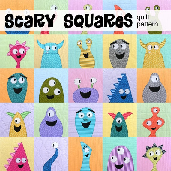 Scary Squares Monster Quilt Pattern Pdf Etsy