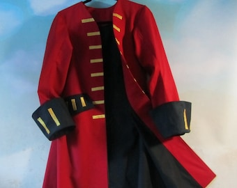 Child's Pirate Frock Coat: Jack Sparrow, Elizabeth Swann, Captain Hook - Fully Lined, 100% Cotton Velveteen, Size 8 - 14, Made To Order Only