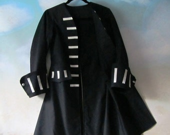 Child's Black Pirate Coat: Jack Sparrow, Elizabeth Swann, Captain Hook - Fully Lined 100% Cotton, Size 12, Ready To Ship