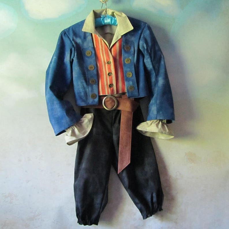 fefb1593177 Child's Henry Turner Pirate Costume: Jacket, Shirt, Vest, Pants, Belt,  Sizes 8 - 12, All Cotton, Made To Order
