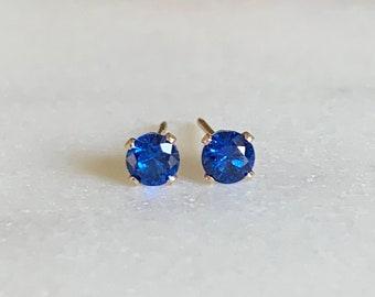 Sapphire Stud Earrings - Sapphire earrings - September Birthstone