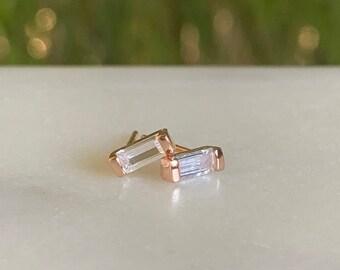 Baguette Earrings • Stud Earrings • Diamond earrings