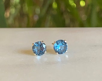 Aquamarine Stud Earrings - Stud Earrings - Aquamarine Earrings - March Birthstone Earrings