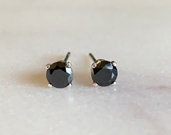Black Diamond Earrings - Black diamond studs - dainty stud earrings