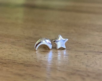 Star and moon stud earrings, Celestial stud set, star earrings, moon earrings, star studs, moon studs