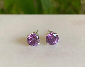Amethyst stud earrings - February birthstone - gift for her - Amethyst earrings - gemstone earrings