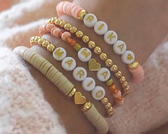 Heishi Beaded Name Bracelet | Personalized Custom Beaded Bracelets | Beaded Bracelets | Name Bracelet Set