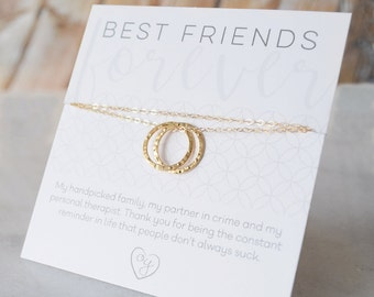 Best Friend Necklace, Friendship Jewelry, Bridesmaid's Gift, Two Circle Necklace - 1293