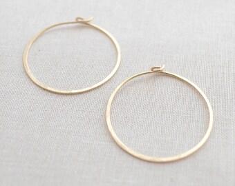 Hammered Gold Hoop Earrings, Handmade Gold Hoops, 1 Inch Gold Hoops, Classic Gold Hoop Earrings, Small Gold Hoop Earrings, Olive Yew - 3104