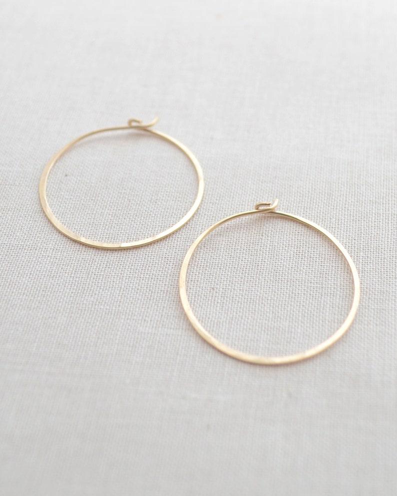 Hammered Gold Hoop Earrings Handmade Gold Hoops 1 Inch Gold image 0