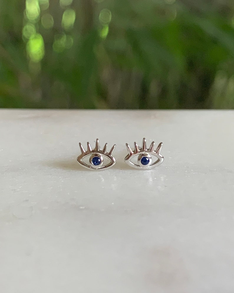 Evil eye earrings Evil Eye studs  Evil Eye jewelry image 0