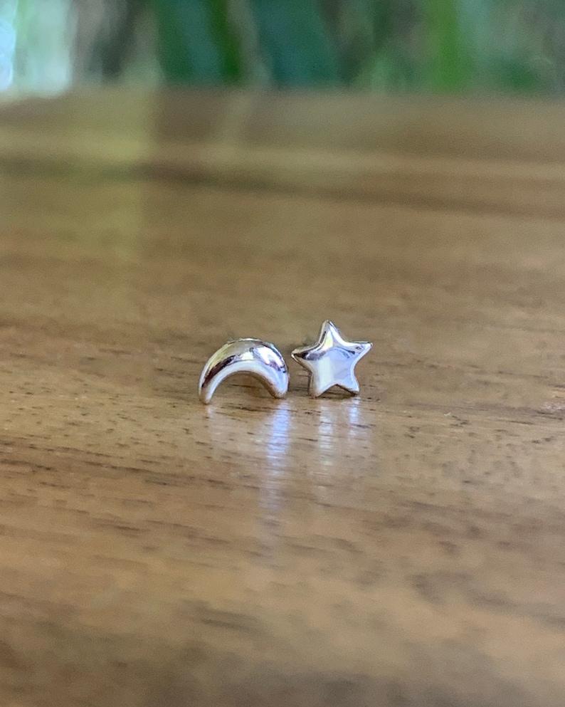 Star and moon stud earrings Celestial stud set star image 0